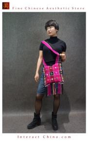 100% Handloom Woven Embroidery Fair Trade Bohemian Cotton Weekender Cross Body Tassel Decorative Bag #104