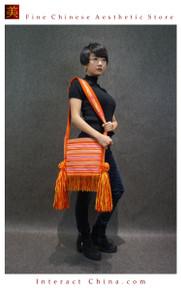 100% Handloom Woven Embroidery Fair Trade Urban Chic Tassel Fringe Tote Handbag Cross Body Shoulder Bag #101