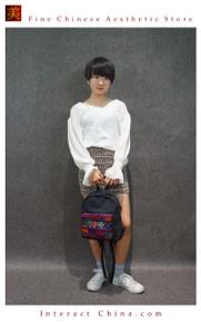 Boho Chic 100% Hand Embroidered Tribal Women Girl Vintage Weekender Backpack Rucksack #102