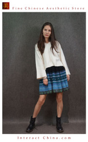 Hand Woven Embroidered Plaid Pleated Skirt Vintage Women Dress #119