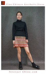 Hand Woven Embroidered Plaid Pleated Skirt Vintage Women Dress #122