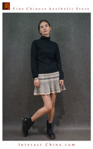 Hand Woven Embroidered Plaid Pleated Skirt Vintage Women Dress #123