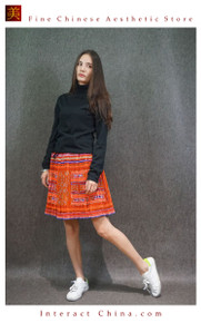 Hand Woven Embroidered Plaid Pleated Skirt Vintage Women Dress #125