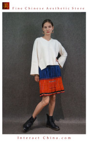 Hand Woven Embroidered Plaid Pleated Skirt Vintage Women Dress #127