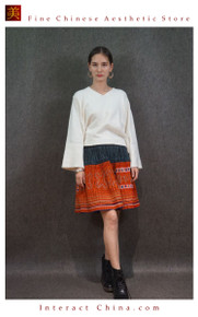 Hand Woven Embroidered Plaid Pleated Skirt Vintage Women Dress #128