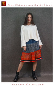 Hand Woven Embroidered Plaid Pleated Skirt Vintage Women Dress #129