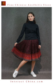 Hand Woven Embroidered Plaid Pleated Skirt Vintage Women Dress #130