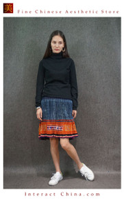 Hand Woven Embroidered Plaid Pleated Skirt Vintage Women Dress #132