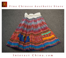 Hand Woven Embroidered Plaid Pleated Skirt Vintage Women Dress #133