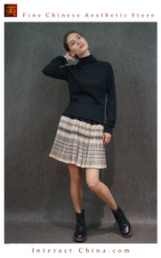 Hand Woven Embroidered Plaid Pleated Skirt Vintage Women Dress #135