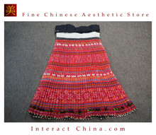 Hand Woven Embroidered Plaid Pleated Skirt Vintage Women Dress #136