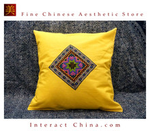 100% Handmade Embroidered Cotton Linen Sofa Couch Cushion Cover Set 16.9 x 16.9 inches Decorative Throw Pillow Case #203