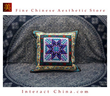 100% Handmade Embroidered Cotton Linen Sofa Couch Cushion Cover Set 18.1 x 18.1 inches Decorative Throw Pillow Case #211