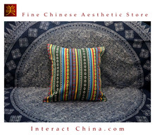 100% Handmade Embroidered Cotton Linen Sofa Couch Cushion Cover Set 16.9 x 18.1 inches Decorative Throw Pillow Case #401