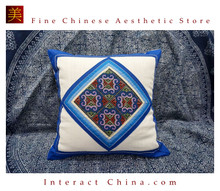 100% Handmade Embroidered Cotton Linen Sofa Couch Cushion Cover Set 16.5 x 16.5 inches Decorative Throw Pillow Case #101