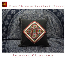 100% Handmade Embroidered Cotton Linen Sofa Couch Cushion Cover Set 16.9 x 16.9 inches Decorative Throw Pillow Case #103