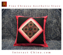 100% Handmade Embroidered Cotton Linen Sofa Couch Cushion Cover Set 16.5 x 16.5 inches Decorative Throw Pillow Case #104