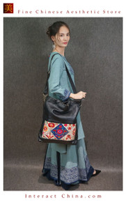 Retro Style Handsewn Shoulder Bag Antique Hand Embroidery Women Luxury Leather Handbag Spacious Hobo Bag #103
