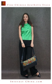 Retro Style Handsewn Shoulder Bag Antique Hand Embroidery Women Luxury Leather Handbag Spacious Hobo Bag #104