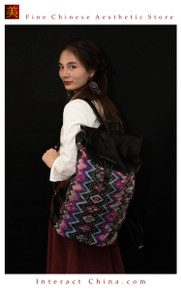 Handmade Boho Chic Spacious Leather Backpack One of A Kind Women Antique Embroidery Rucksack #101