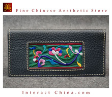 100% Hand Embroidered Women Leather Wallet Designer Long Purse Rare Art Phone Card Holder #101