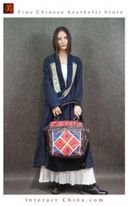Retro Style Handsewn Shoulder Bag Antique Hand Embroidery Women Luxury Leather Handbag Spacious Hobo Bag #102