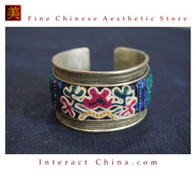 100% Handcrafted Women Fashion Silver Bracelet Everyday Arm Cuff Antique Embroidery One of A Kind Bangle #105