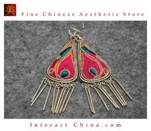 100% Handmade Antique Embroidery Women Fashion Jewelry Unique Silver Teardrop Dangle Tassel Earrings #101