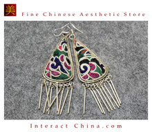 100% Handmade Antique Embroidery Women Fashion Jewelry Unique Silver Teardrop Dangle Tassel Earrings #102