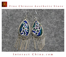 100% Handmade Antique Embroidery Women Fashion Jewelry Unique Silver Teardrop Dangle Tassel Earrings #103