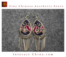 100% Handmade Antique Embroidery Women Fashion Jewelry Unique Silver Teardrop Dangle Tassel Earrings #105
