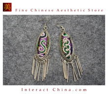 100% Handmade Antique Embroidery Women Fashion Jewelry Unique Silver Teardrop Dangle Tassel Earrings #107