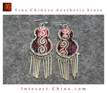 100% Handmade Antique Embroidery Women Fashion Jewelry Unique Silver Teardrop Dangle Tassel Earrings #108