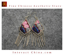 100% Handmade Antique Embroidery Women Fashion Jewelry Unique Silver Teardrop Dangle Tassel Earrings #109