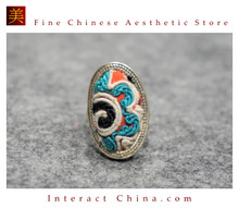 100% Handcrafted Antique Embroidery Women Silver Ring One Of A Kind Boho Statement Adjustable Ring #103