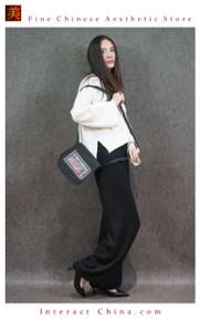 Retro Style Handsewn Shoulder Bag Antique Hand Embroidery Women Luxury Cotton Handbag Spacious Hobo Bag #109