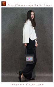 Retro Style Handsewn Shoulder Bag Antique Hand Embroidery Women Luxury Cotton Handbag Spacious Hobo Bag #110
