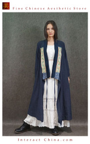Fashionable High-End Kimono Cardigan Long Vintage Style Blouse Antique Hand Embroidery Maxi Coat One Piece Only #103