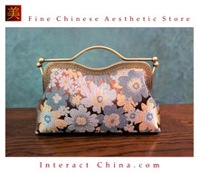 Classy Handcrafted Silk Brocade Handbag Everyday Weekend Crossbody Bag Kiss Lock Travel Shoulder Bag #101