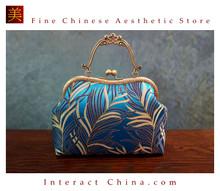 Classy Handcrafted Silk Brocade Handbag Everyday Weekend Crossbody Bag Kiss Lock Travel Shoulder Bag #103
