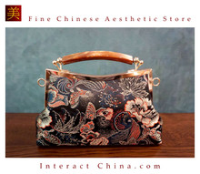 Classy Handcrafted Silk Brocade Handbag Everyday Weekend Crossbody Bag Kiss Lock Travel Shoulder Bag #105
