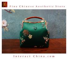 Classy Handcrafted Silk Brocade Handbag Everyday Weekend Crossbody Bag Kiss Lock Travel Shoulder Bag #111