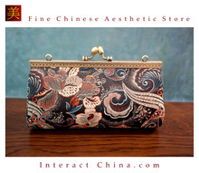 Handsewn Cute Small Prom Clutch Silk Brocade Mini Coin Purse Retro Style Kiss Lock Shoulder Bag #101