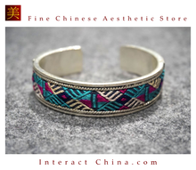 100% Handcrafted Women Fashion Silver Bracelet Everyday Arm Cuff Antique Embroidery One of A Kind Bangle #107