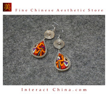 100% Handmade Antique Embroidery Women Fashion Jewelry Unique Silver Teardrop Dangle Tassel Earrings #116
