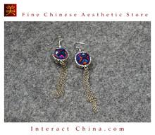 100% Handmade Antique Embroidery Women Fashion Jewelry Unique Silver Teardrop Dangle Tassel Earrings #118