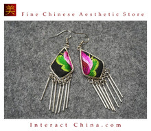 100% Handmade Antique Embroidery Women Fashion Jewelry Unique Silver Teardrop Dangle Tassel Earrings #120