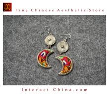 100% Handmade Antique Embroidery Women Fashion Jewelry Unique Silver Teardrop Dangle Tassel Earrings #124