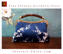 Classy Handcrafted Silk Brocade Handbag Everyday Weekend Crossbody Bag Kiss Lock Travel Shoulder Bag #114