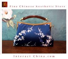 Classy Handcrafted Silk Brocade Handbag Everyday Weekend Crossbody Bag Kiss Lock Travel Shoulder Bag #114